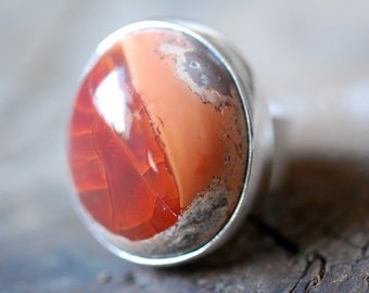 Tangerine Ring Raw Fire Opal