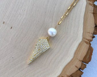 CZ gold spike and freshwater pearl pendant necklace. Diamond look. Classic with edge. Dainty. Vermeil. Gift