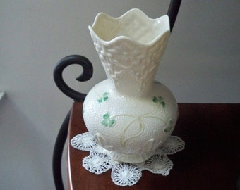 Vintage Home Vase Irish Belleek Shamrock 17th Belleek Mark