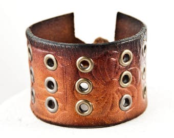 Vintage Leather Bracelet Cuff Distressed Brown Leather Holiday Shopping