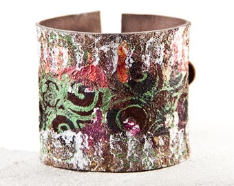Woodland Bracelet Flower Cuff Earthy Jewelry Floral Garden Fashion