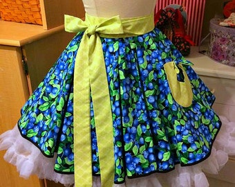 Handmade woman's half apron in blueberries theme,pleated front