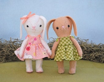Felt Bunny Doll Pattern - Printable PDF Doll Sewing Pattern - Vintage Style String Jointed Easter Bunny Rabbit Doll with Dress