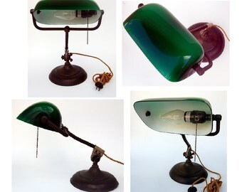 1940s Antique Library Bankers Desk Lamp
