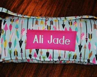 Nap Mat - Monogrammed Quills and Arrows Nap Mat with a Hot Pink Minky Dot Blanket