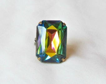 Chunky Cocktail Ring. Vitrail Blue Green Orange Statement. Estate Style Vintage Glass Jewel. Glam It Up Hollywood Jewellery Jewelry Handmade