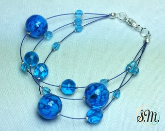 Murano glass Bracelet Aquamarine color