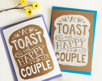 Funny Toast Wedding Card - Linocut Hand Printed Card, Alternative Wedding, A Toast to the Happy Couple Funny Wedding Card, Engagement Card,