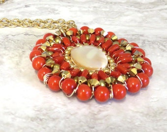 Long Pendant Necklace-Chic Red Coral Pendant on Long Gold Chain Wired by Sharona Nissan 4185