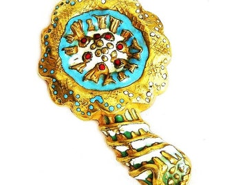 Arthus Bertrand, Paris Enamel Flower Brooch, European Enamel Jewellery