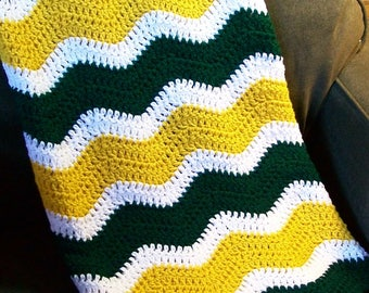 Green Bay Packers Chevron Ripple Baby Blanket Afghan Football NFL Green Gold White Gender Neutral Shower Gift Photo Prop