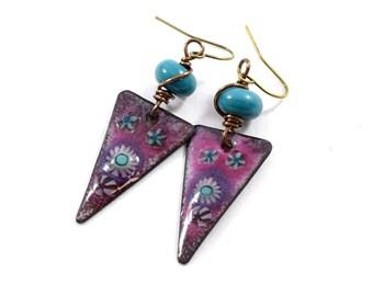 Flowery Burgundy and Turquoise Boho Chic Earrings, Turquoise, Brass Earrings, Murini Earrings,Artisan Earrings, Boho Earrings, OOAK  - AE221