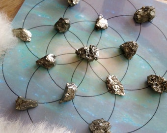PYRITE GRIDWORK CHUNKS Gemstone Crystal & Energy Enhancing Metaphysical Tailsman