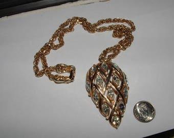 1960s  giant teardrop pendant with stones  REPAIR ITEM- 2 tiny stones needed GORGEOUS nkl