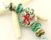 Lampwork Bead Set,  Blue, Turquoise, Aqua, Ivory, Glass Beads with Starfish Jewelry Supply