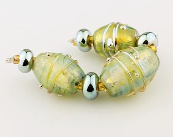 Lampwork Beads SRA Iridescent Green, Gold Glass