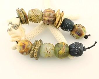 Lampwork Glass Bead Set, SRA Matte Etched Rustic Organic Shells The Original  'Beach Relics'