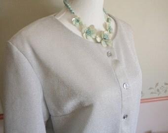 silver lurex top, vintage silver top, silver shirt, vintage silver blouse, silver buttons, silver braid, silver lurex fabric