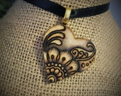 Mehandi Heart Pendant - Made to Order- Hand-Burned on Wood