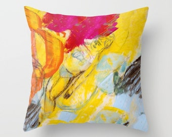 Art pillow cover, pillow case, decorative throw pillow, spun poplin, yellow cushion case, pillow painting girl