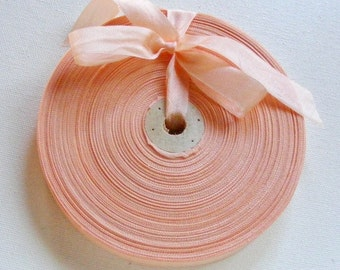 Vintage French Woven Ribbon -Milliners Stock- 5/8 inch 1930's-40's Pale Peach