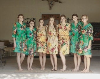 Nude and Teal Wedding Color Bridesmaids Robes