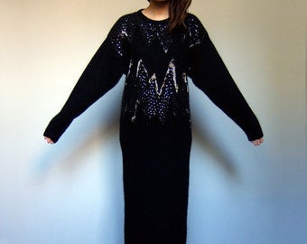 80s Sweater Dress 1980s Sweater Beaded Sweater Dress Oversized Sweater Oversized Knit Sweater Long Maxi Dress - Medium to Large M L