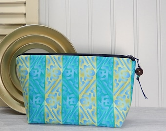 Makeup bag, small cosmetic pouch, blue and green