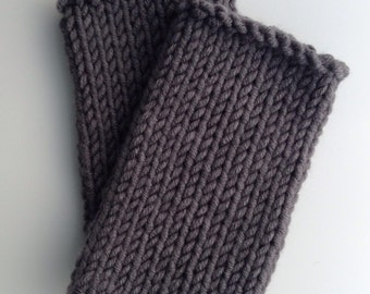 wool mix wristwarmers . hand knit . Pebble grey