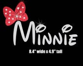 Minnie & Minnie Me (red bow) iron on glitter vinyl transfer
