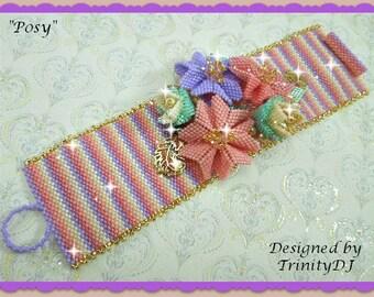 BR-095-2016-154 - Posy - Peyote Stitch Bracelet, Peyote Bracelet, beadweaving bracelet, beadwork bracelet, beaded bracelet, beadwoven flower