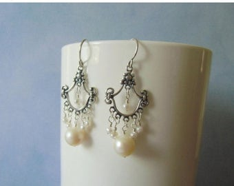 Closing sale Chandelier earrings,  white pearls, sterling silver. 3 cm / 1.18'' in.