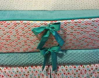 Custom Baby Bumper Pad Crib Set mint teal coral gold arrow DEPOSIT Down payment only