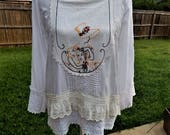 Altered Romantic White Rayon Cotton Blouse, Eyelet and cotton lace crochet, Vintage Look,Size M,Shabby Chic, Embroidered Vintage Lady,