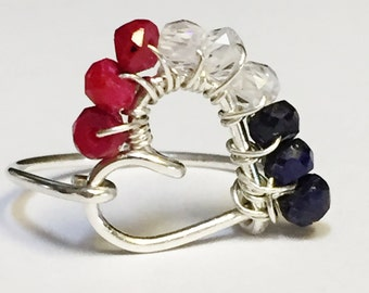 Patriots Ring   Red White and Blue Ring   Gemstone Ring    4th of July    New England Patriots Ring