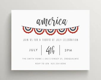 america fourth of july invitation set // bbq invitation // stars and stripes // barbeque // july 4th // banner // bunting // party