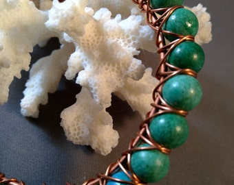Teal Fossil Stone  and Copper Criss Cross Bangle