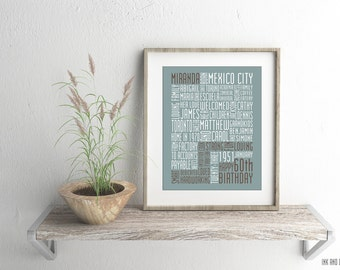 Birthday Typography Print Custom Subway Art Word Art 8x10