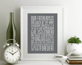 The Lord's Prayer Typography Print 8x10