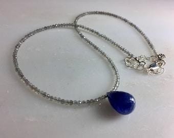 Labradorite Necklace with Tanzanite Briolette in Sterling Silver