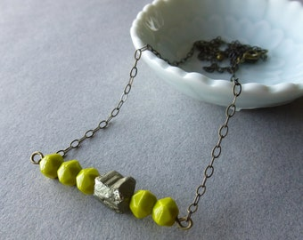 Kiwi Spring Green + Pyrite + Antique Bronze  Delicate Bar Necklace // Greenery // Czech Glass Beads