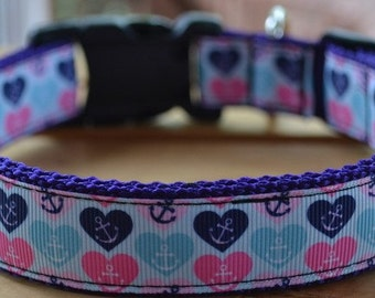 hearts and anchors dog collar & or leash on purple webbing