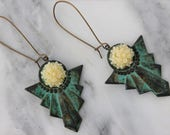 Geometric Floral Statement Earrings // Patina Dangle Earrings // Floral Statement Earrings // Aztec Inspired