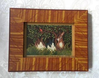 Maine artist Claudia Hopf watercolor painting of bunnies