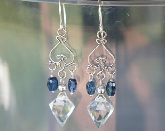 Chandelier Earrings with Rock Crystal Shield Drops and Kyanite