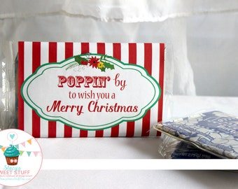 Christmas Microwave Popcorn Wrapper, Christmas popcorn, Christmas printable, Secret Santa, Christmas Gift, DIY, Printable, INSTANT DOWNLOAD