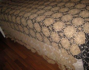 Vintage Crocheted Tablecloth, Bed Spread, Ecru
