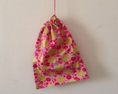 Small drawstring pink flower bag, cotton bag, lingerie  bag, accessory  bag, toy bag, charger bag, jewellery bag, Handmade in Australia
