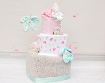 Diaper Cake for Baby Girl, Unique Diaper Cake, Baby Girl Gift, Baby Shower Gift, Butterfly Baby Shower, Bird Baby Shower, Modern Cake