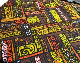 Vintage Hawaiian Fabric - Brown Yellow and Orange Hawaii Barkcloth - By the Yard THC